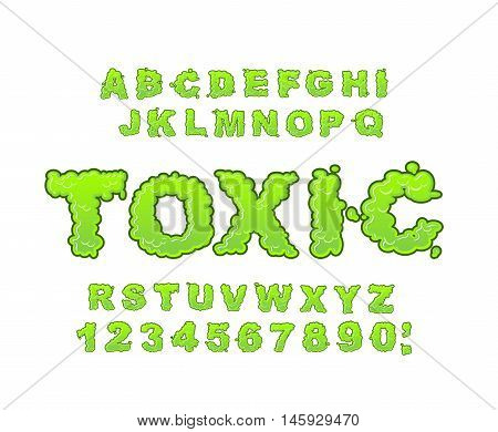 Toxic Font. Green Liquid Abc. Acid Typography. Radiation Alphabet. Poison Letters