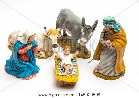 Scene nativity crafts, close up in white