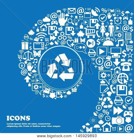Recycle Icon . Nice Set Of Beautiful Icons Twisted Spiral Into The Center Of One Large Icon. Vector