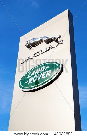 SAMARA RUSSIA - AUGUST 27 2016: Jaguar dealership sign. Jaguar is a brand of the British car manufacturer Jaguar Land Rover