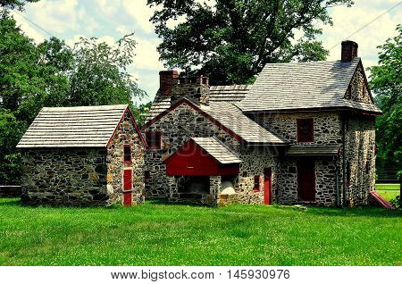 Chadds Ford Pennsylvani - June 9 2015: Gideon Gilpin House used by the Marquis de Lafayette as his headquarters during the 1777 Revolutionary War Battle of the Brandywine *