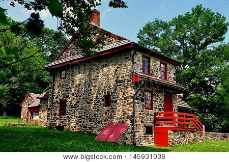Chadds Ford Pennsylvania - June 9 2015: Gideon Gilpin House used by the Marquis de Lafayette as his headquarters during the 1777 Revolutionary War Battle of the Brandywine *