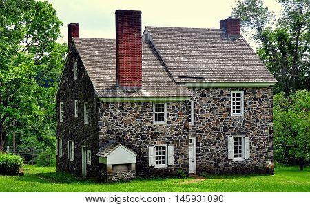 Chadds Ford Pennsylvania - June 9 2015: Benjamin Ring House used as headquarters by Gen. George Washington during the 1777 Revolutionary War Battle of the Brandywine *