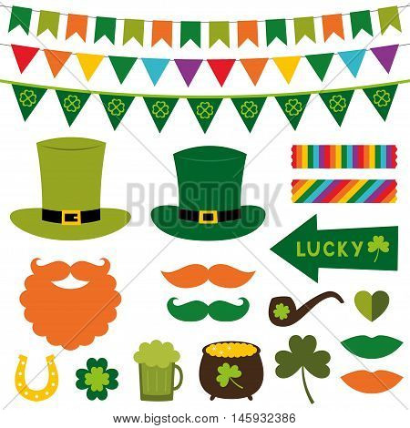 St. Patrick's Day decoration and photo booth props set