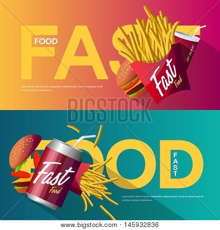 Fast food creative poster design set. Web graphics modern vector illustration set. Premium quality logo design concept pictogram. Delicious meal banners.