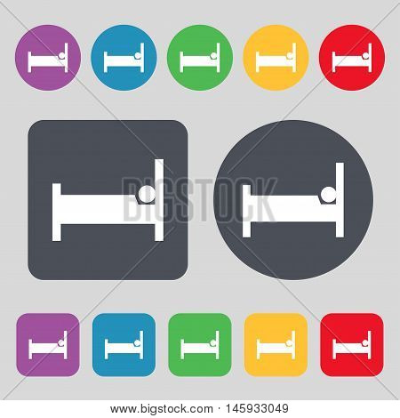 Hotel Icon Sign. A Set Of 12 Colored Buttons. Flat Design. Vector