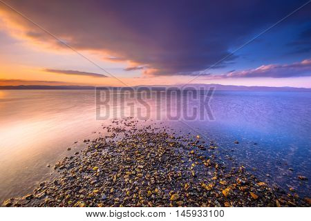 Sunrise At A River Mouth On Lesbos Island