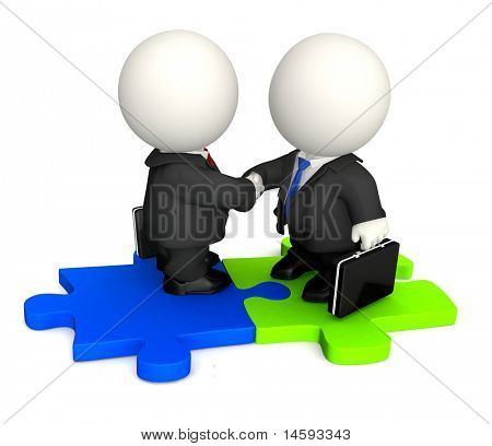 3D Business man handshaking and standing on a puzzle - isolated