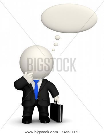 3D pensive business man with a thought bubble - isolated over white
