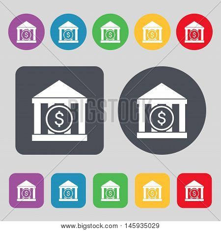 Bank Vector Icon Sign. A Set Of 12 Colored Buttons. Flat Design. Vector