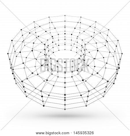 Wireframe Polygonal Geometric Element. Torus With Connected Lines And Dots. Vector Illustration On W