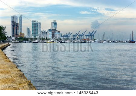 View of yachts and skyscrapers on the waterfront of Cartagena Colombia