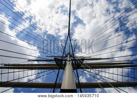 Skyward View of Windjammer Rigging against a Clear Blue Sky