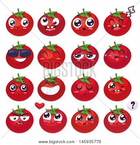 Tomato set of funny smiles. Fruit vegetables and food collection. Vector cartoon illustration. Cute stylish characters.