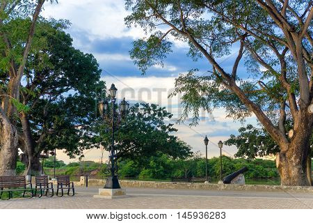 Park on the waterfront in Mompox Colombia