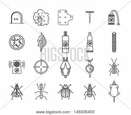 Pest and insect control icons set. Vector illustration.