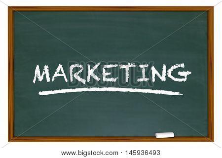 Marketing Education Basics Principles Chalk Board Word 3d Illustration