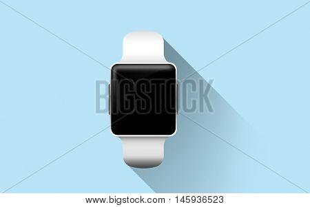 modern technology, object and media concept - close up of smart watch with black blank screen over blue background