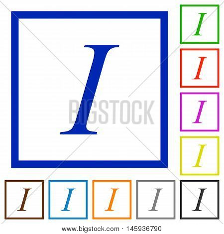Set of color square framed Italic font type flat icons