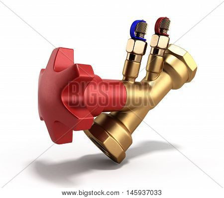 Balancing Valve Without Drain For Plumbing 3D Rendering On A White Background