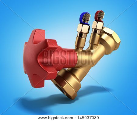 Balancing Valve Without Drain For Plumbing 3D Rendering On Gradient Background