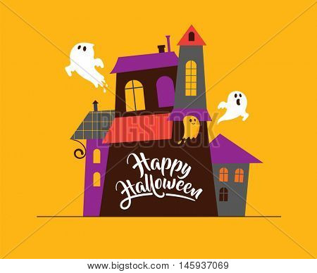 Halloween greeting cards - haunted house, ghosts background, poster, banner