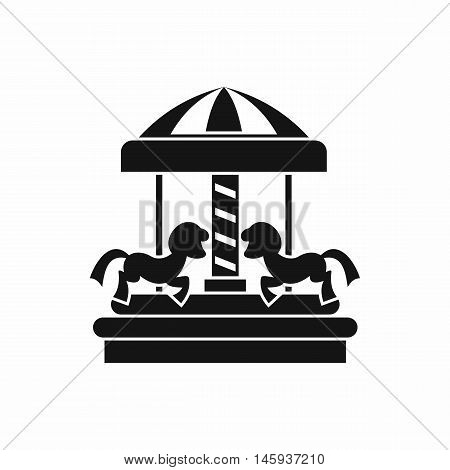Carousel with horses icon in simple style isolated on white background vector illustration