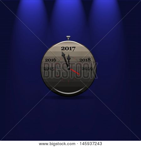 3D rendering of grey stop watch with arrows showing 2017 year on blue isolated background with illumination above.