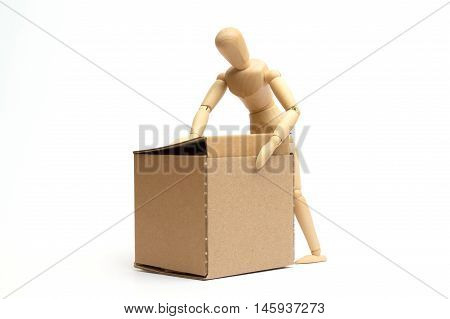 Wood dummy with pack on white background
