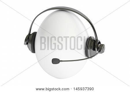 egg with headset or headphones 3D rendering