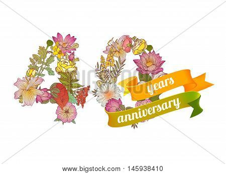 forty (40) years anniversary sign of floral digits