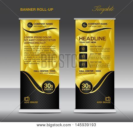 Gold Roll up banner template vector, roll up stand, banner design, stand design, display, polygon background