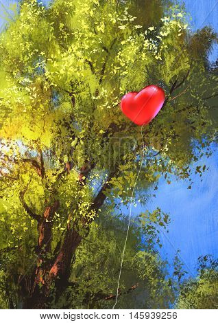 love heart balloon stuck in a tree branches, illustration painting