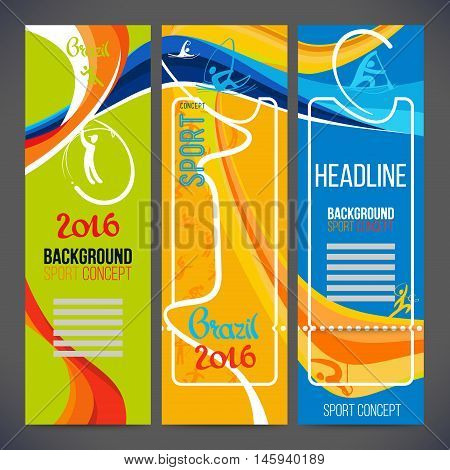 Vector composition of a wave of bands with different colors are intertwined including sport symbols.Concept brochure,web,page,leaflet,design sport banners 2016 year with sport logo element.