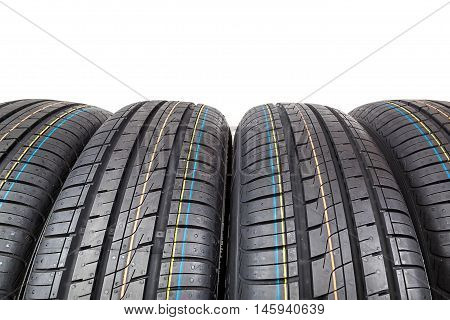Car tires isolated on a white background.