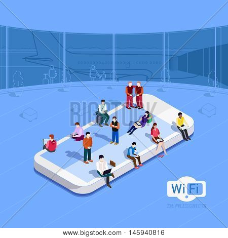 Flat vector metaphor People in wi-fi zone at the airport Phone icon on which people sit Internet in the free zone Public Wi-Fi zone wireless connection technology Isometric 3d vector illustrations