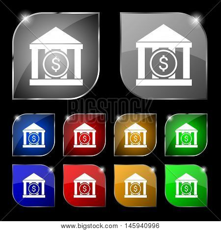 Bank Vector Icon Sign. Set Of Ten Colorful Buttons With Glare. Vector