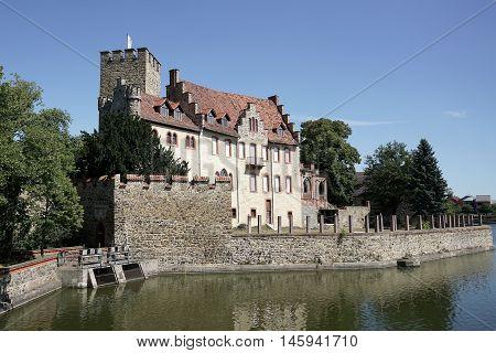 historic moated castle in Flechtingen in Germany