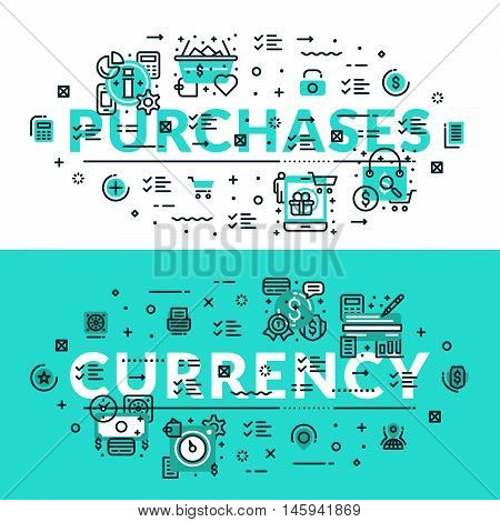 Purchases and Currency heading title web banner. Horizontal colored in white and turquoise flat vector illustration.