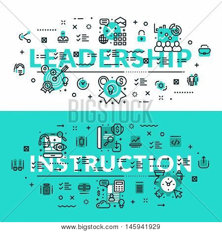 Leadership and Instruction heading title web banner. Horizontal colored in white and turquoise flat vector illustration.