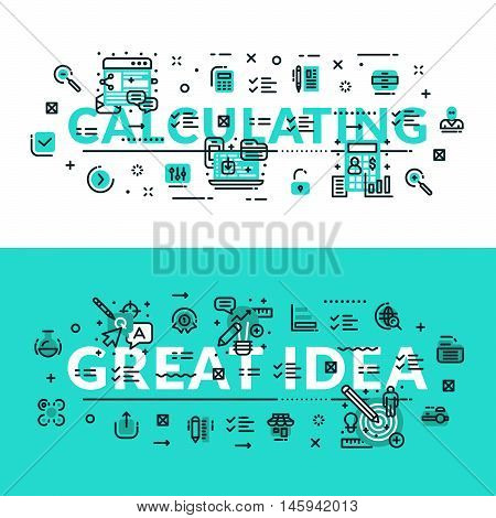 Calculations and Great Idea heading title web banner. Horizontal colored in white and turquoise flat vector illustration.