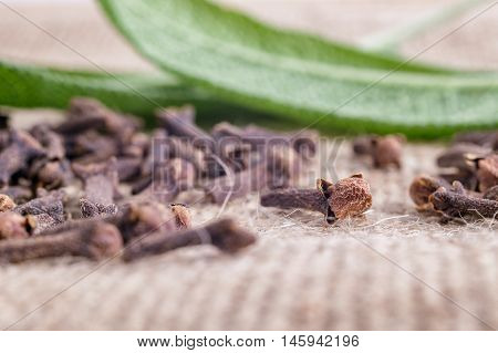Cloves On Burlap Fabric With Leaves In The Background With Faded Effect
