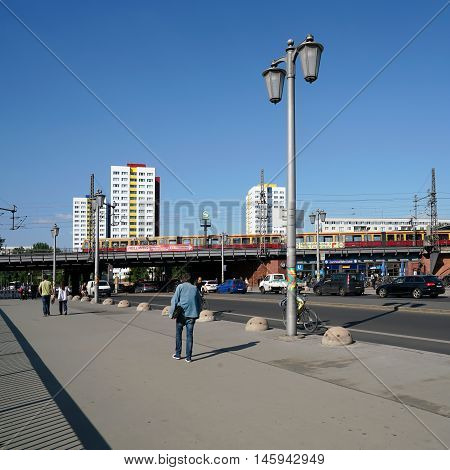 BERLIN, GERMANY - MAY 10, 2016: street scene in Berlin-Mitte at Jannowitzbrücke. The subway and train station Jannowitzbrücke is located on the same bridge in the Berlin district of Mitte and is a crossing point to public transport