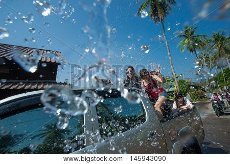 Ko Phangan - APR 16: people joins celebrations of the Thai New Year or Songkran in Ko Phangan on Apr 13, 2016