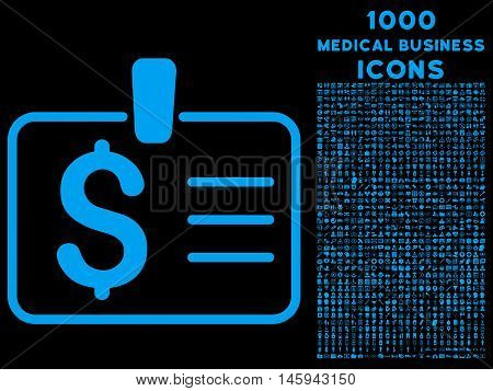 Dollar Badge vector icon with 1000 medical business icons. Set style is flat pictograms, blue color, black background.