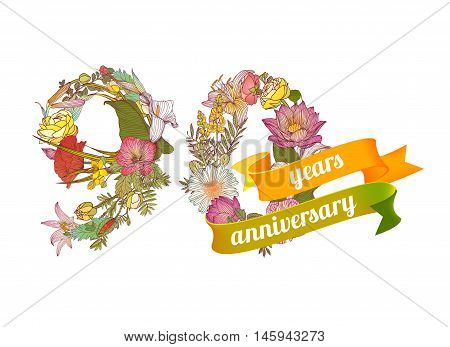 ninety (90) years anniversary sign of floral digits