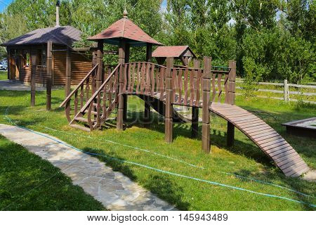 Children's slide in the yard of a private house