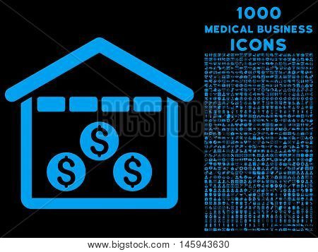 Money Depository vector icon with 1000 medical business icons. Set style is flat pictograms, blue color, black background.