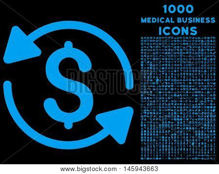 Money Turnover vector icon with 1000 medical business icons. Set style is flat pictograms, blue color, black background.