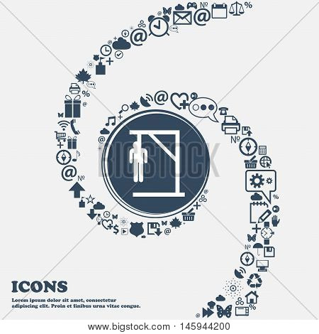 Suicide Concept Icon In The Center. Around The Many Beautiful Symbols Twisted In A Spiral. You Can U